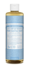 Dr. Bronner's Soap (Baby Mild)- use this for everything. It's the only think I put on my kids (except Sappo Hill bar soaps!)