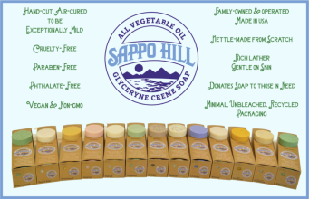 Sappo Hill Soaps are the purest out there. We love oatmeal, plain glycerine unscented and cucumber varieties.