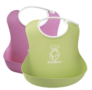Reusable Baby Bjorn Bibs catch a mess and last for years