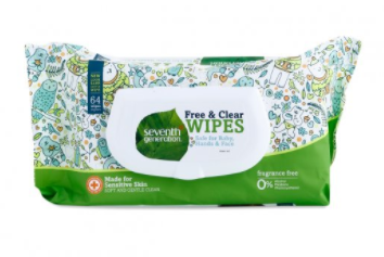 Seventh Generation Free and Clear wipes worked best for us