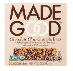 We wouldn't survive without Made Good fabulous tasting, healthy and allergy free granola bars - we buy them in bulk and chocolate chip is our favorite